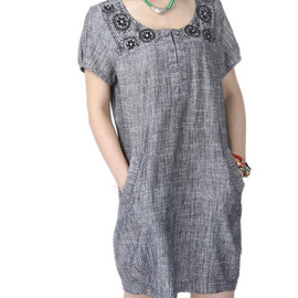 etsy - linen Knee length babydoll  dress