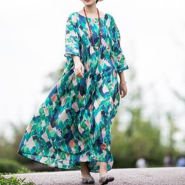 dress - Comfortable maxi dress, Vintage dress, loose long dress, Plus size dress, Loose Fitting robes