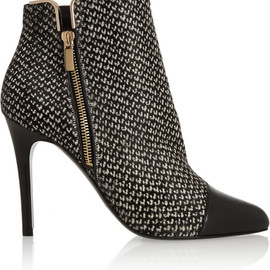 LANVIN - Tweed-print calf hair and leather ankle boots