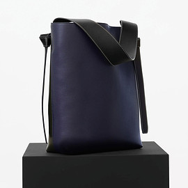 CELINE - Celine Navy/Dark Green Shiny Smooth Calfskin Twisted Cabas Small Bag