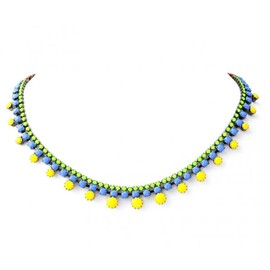 Tom Binns - SMALL YELLOW DOT NECKLACE BLUE GREEN AND RED