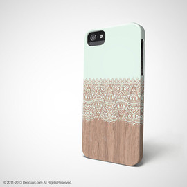 Decouart - Mint Floral iPhone 4 case, iPhone 5s case, iPhone 5 case, mint wood beige boho S633, christmas gift