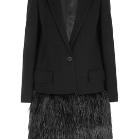 DKNY - Feather-embellished wool-twill coat