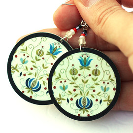 Luulla - Polish folk Earrings Floral motif from Kaszebe region - decoupage earrings - double faced