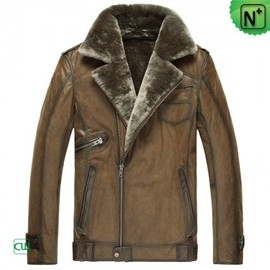 cwmalls - Mens Leather Shearling Jacket cw877049