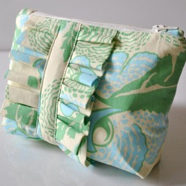 Luulla - Amy Butler cosmetics make up bag ruffle blue and green abstract florals UK Handmade