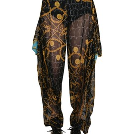 JEREMY SCOTT - BLUE SCARF DRAPED HAREM PANTS