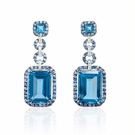 Diamond, Blue Sapphire and Blue Topaz Antique Style 18k White Gold and Black Rhodium Dangle Earrings - ダイヤモンドのイヤリング