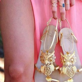 golden owl sandals