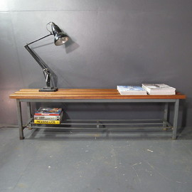 1950s teak & steel industrial bench