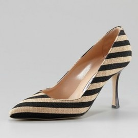 Manolo Blahnik - Pamuk Striped Linen Pump