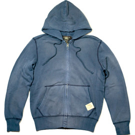 RRL - ANCHOR EMBROIDERY FULL-ZIP HOODED SWEATSHIRT (Navy)