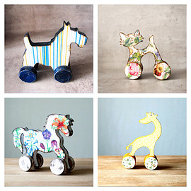 Grimme - Rolling animal toy, nursery decor, handmade of wood