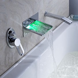 FaucetSuperDeal. - LED Waterfall Tub Faucet with Pull-out Hand Shower (Wall Mount) - FaucetSuperDeal.com