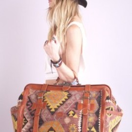 Vtg 70s SOUTHWEST NAVAJO -  Kilim Leather Weekender BAG