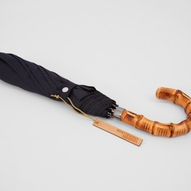 London Undercover - WHANGEE CANE CROOK FOLDED NAVY UMBRELLA