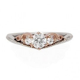 Hatae jewelry - PT900×K18PG Diamond Engagement Ring
