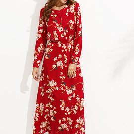 Romwe - Red Floral Print Buttons Front Shirt Dress