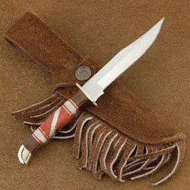 Doris Yazzie - Native American Coral & Mother of Pearl Inlaid Knife Stainless Steel Mini Skinner