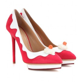 Charlotte Olympia - DEBONAIRE SUNDAE SUEDE AND PATENT-LEATHER PUMPS