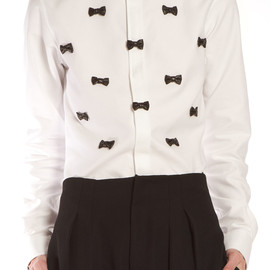 Alexis Mabille - Black leather bow shirt