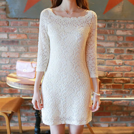 Boat Neck Long Sleeve White Bodycon Mesh Lace Dress