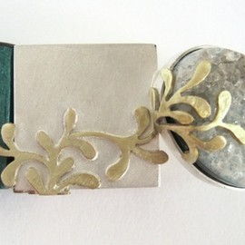 "by lauren elizabeth wethers - ""tiny composition"" brooch 2x4cm (silver, brass, stained wood and semi precious stone) by lauren elizabeth wethers"