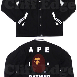 A BATHING APE - A BATHING APE(エイプ) APE is BATHING メルトンスタジャン 【新品】BLACK 127-000314-041+ 127-000313-041+