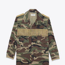 SAINT LAURENT - SS2015 WESTERN MILITARY PARKA IN KHAKI CAMOUFLAGE PRINTED COTTON GABARDINE