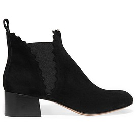 Chloé - Suede scalloped ankle boots