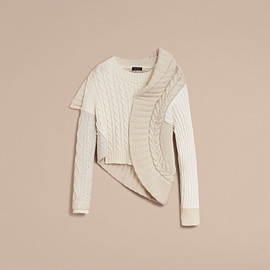 BURBERRY - Cable Knit Cashmere, Cotton and Wool Blend Sculptural Sweater(February 2017)