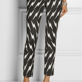 NEIL BARRETT - Cropped printed stretch-gabardine skinny pants