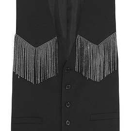 SAINT LAURENT - Studded leather-fringed wool-blend vest