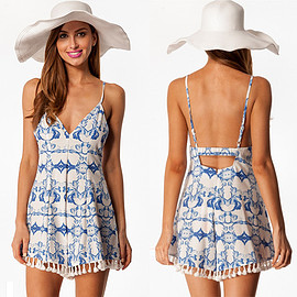 Sexy Backless Deep V-neck Tassels Sling Floral Print Dress