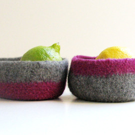 Luulla - Felted bowls - Organic family - Purple and grey color