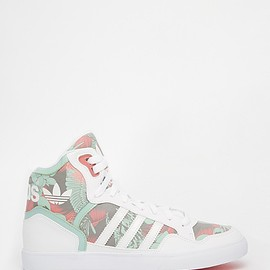 adidas - Image 1 of Adidas Originals Extaball White & Green High Top Sneakers