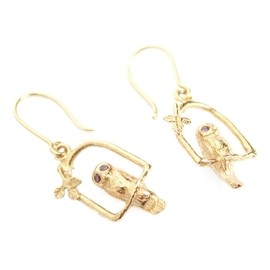 Alex Monroe - Owl Arch Earrings with Stone Set Eyes