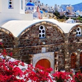 Santorini - BLUE: WHITE: RED: Oia, Santorini, Greece