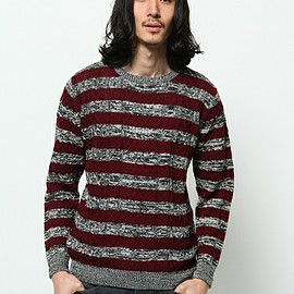 URBAN RESEARCH - URBAN RESEARCH A/W CABLE BORDER KNIT