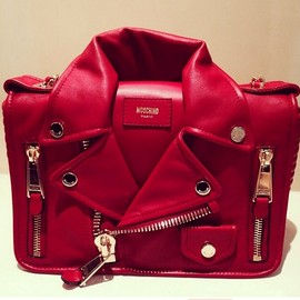 "MOSCHINO - Pre-fall 2014 Red calfskin ""Biker"" bag(by Jeremy Scott)"