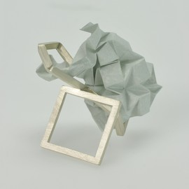 rosewarner - silver and folded paper ring