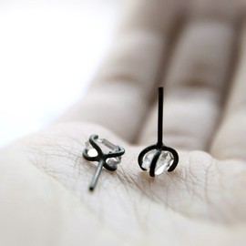 Xx . herkimer diamond oxidized sterling silver post earrings