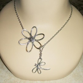 DRAGONFLY DREAM Necklace SILVER Plated Dragonfly and Flower Lariat