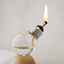Mini Recycled Light Bulb Oil Lamp on Natural Wood Half Dome Base