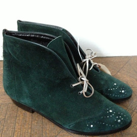 * - vintage green suede boots