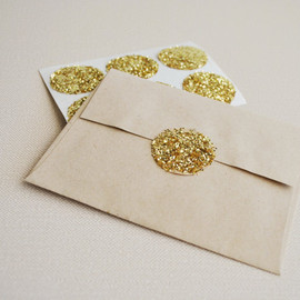 gold glitter large circle stickers  (30 stickers)