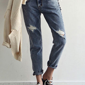 Oversize Street-chic Cuffed Frayed Jeans Trousers