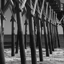 Fine Art America - Pier Structure in Black and White Canvas Print / Canvas Art - Artist MM Anderson