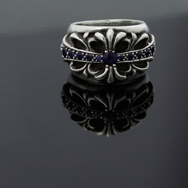 CHROME HEARTS - Floral Cross Ring sapphire PAVE