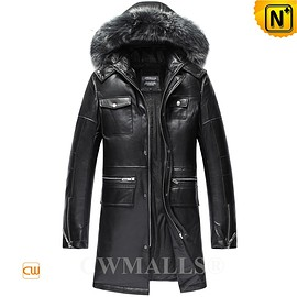 CWMALLS - CWMALLS® Leather Down Coat with Fur Hood CW806102